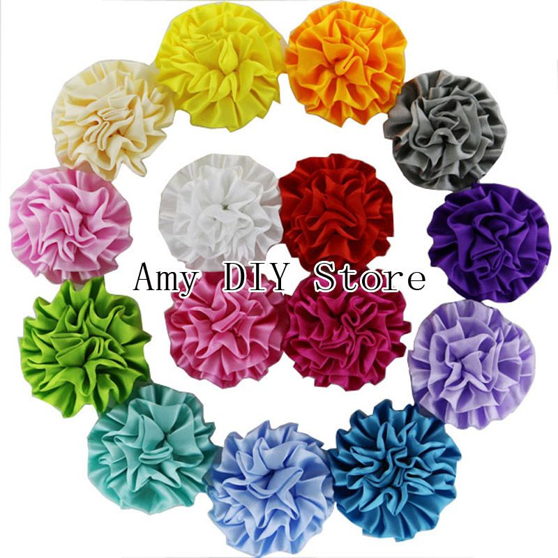 $175.00 (Buy here: http://appdeal.ru/7e9p ) EMS Free Shipping 500pcs/lot Assorted Colours Ruffle Flowers Satin Ruffle Rosettes Fabric Flower For Baby Girls Hair Accessories for just $175.00