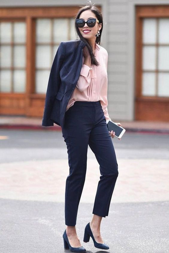 10 a navy pantsuit with cropped pants a pink shirt and
