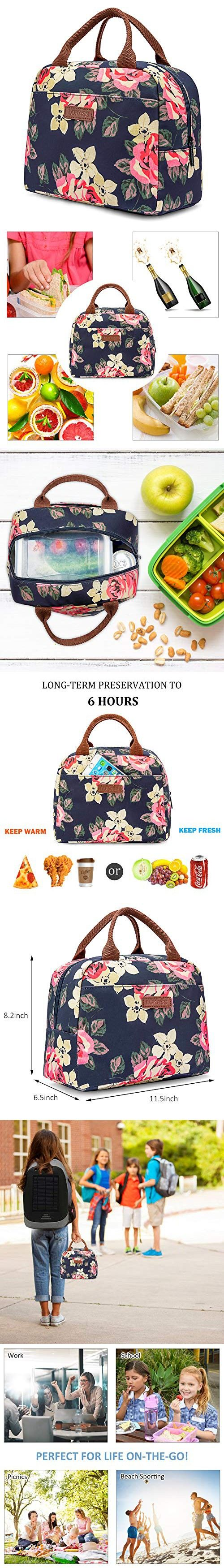 LOKASS Lunch Bag Cooler Bag Women Tote Bag Insulated Lunch Box Water-resistant Thermal Lunch Bag Soft Leak Proof Liner Lunch Bags for women//Picnic//Boating//Beach//Fishing//School//Work Peony
