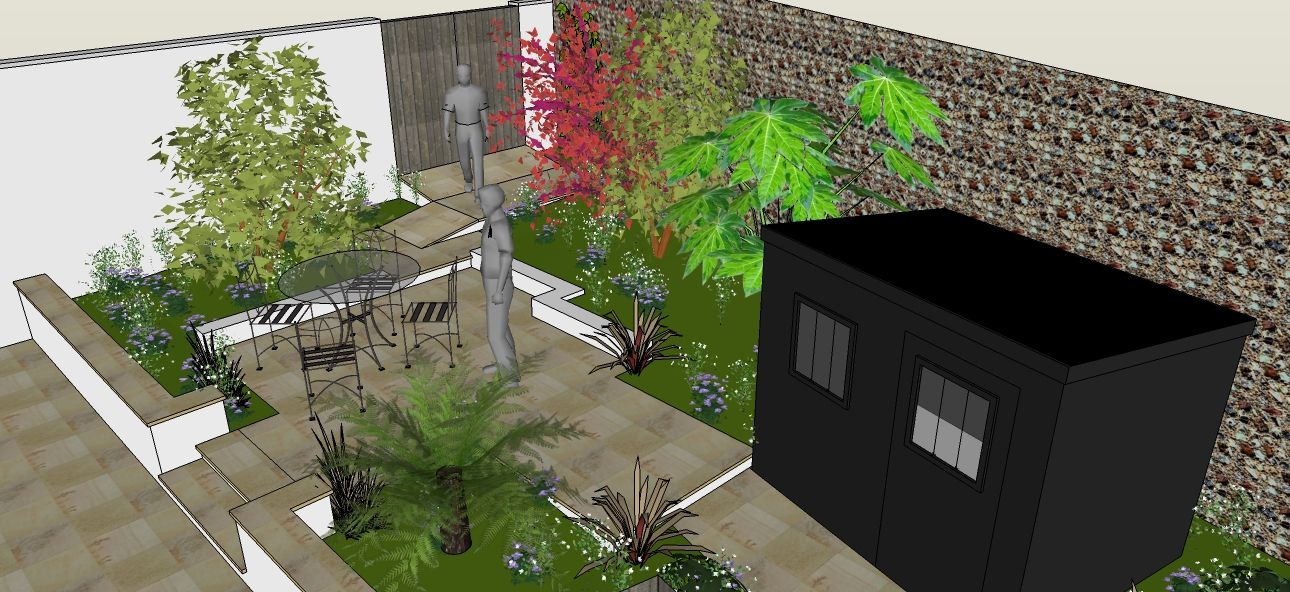 Google sketchup garden design for courtyard garden in ... on Sketchup Backyard id=87835