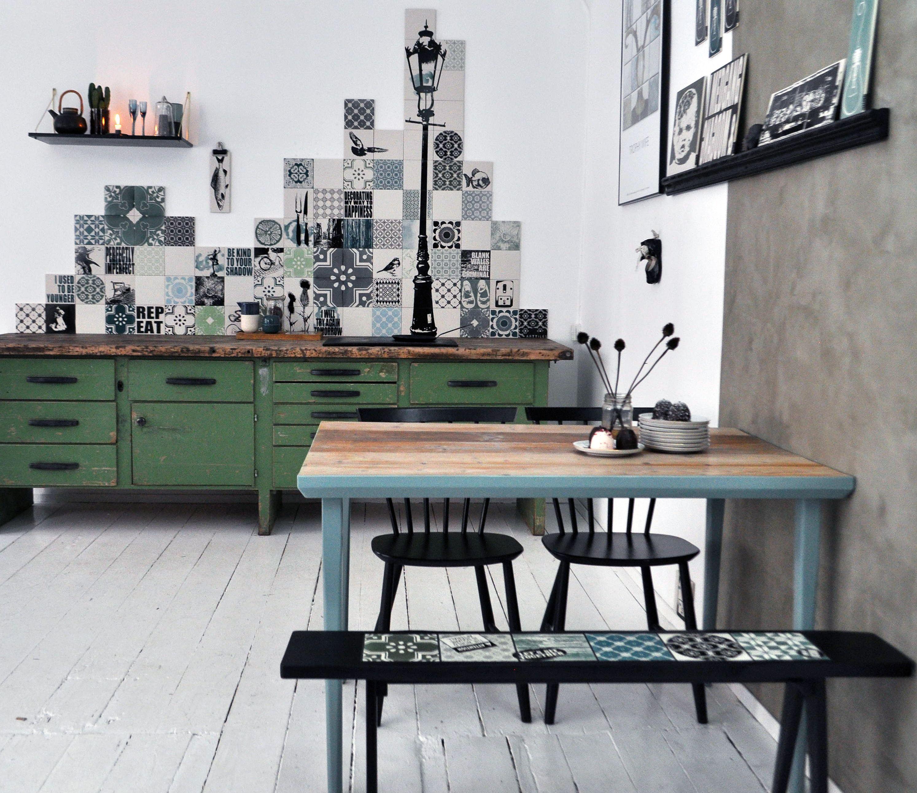 Custom Backsplash Skyline In Copenhagen Kitchen Hand Printed Porcelain Tiles From Arttiles