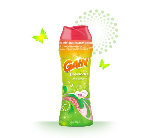 A sprinkle of scent goes a loooooong way. A dash of Gain Fireworks scent booster in Sweet Sizzle will create an explosion of aroma on your fabrics for up to 12 weeks of freshness*