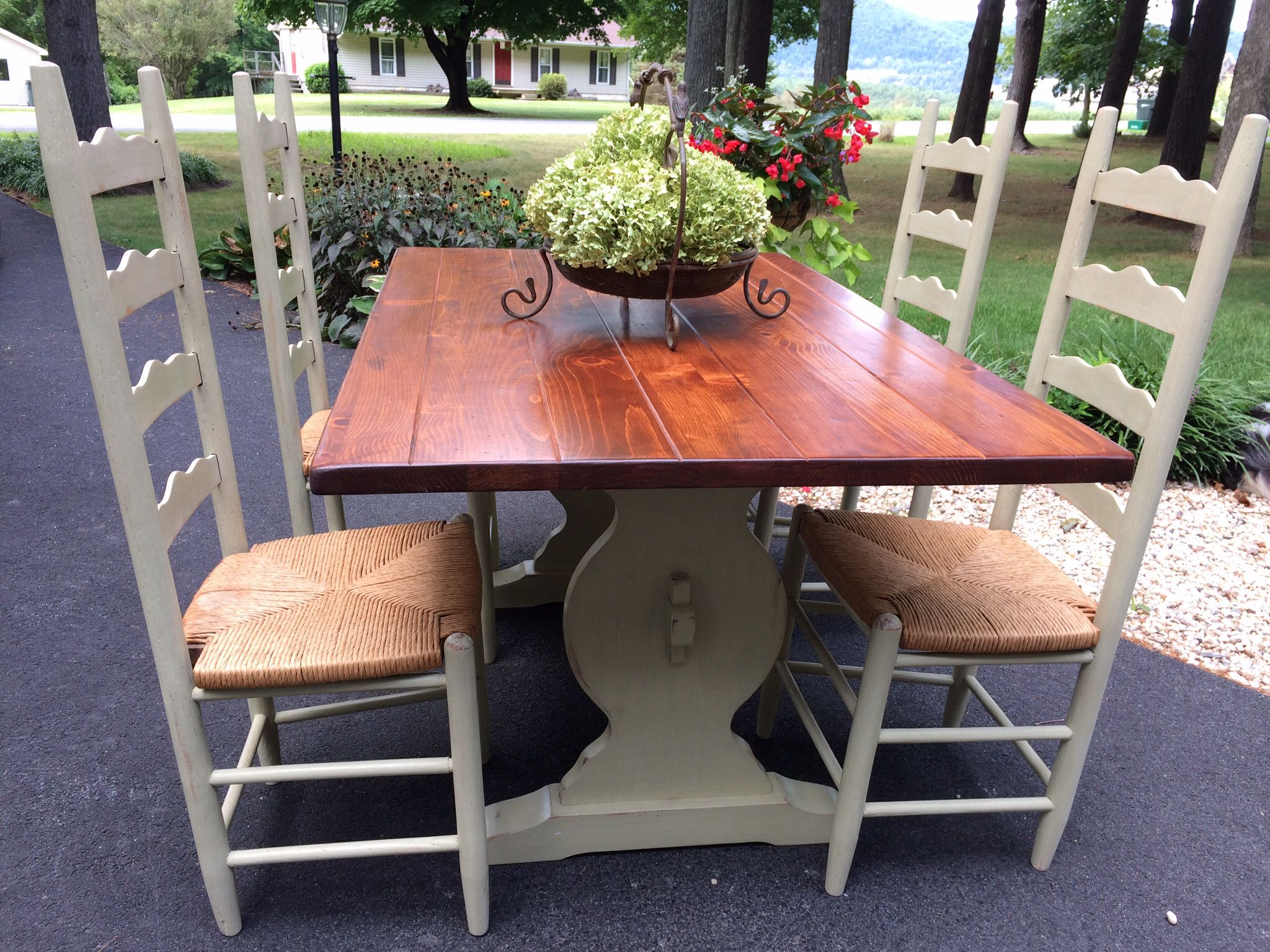 trestle table and ladder back chairs painted with chalk paint