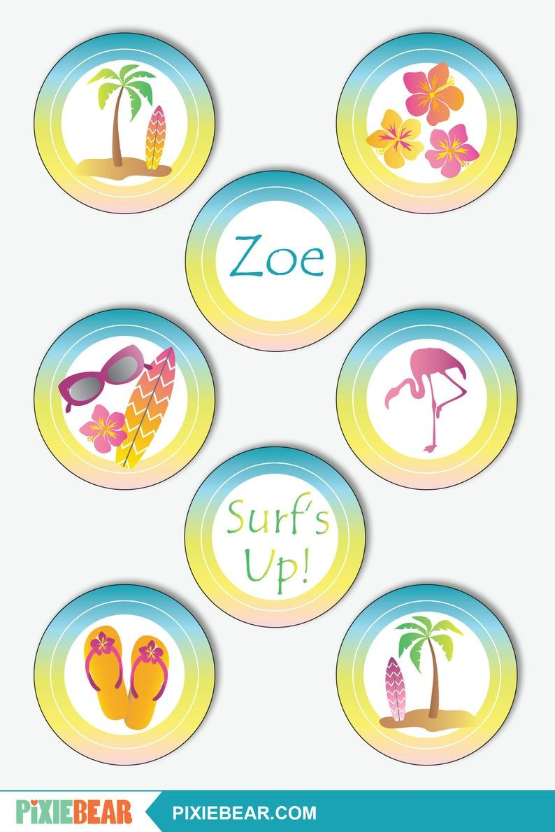 Beach Cupcake Toppers Printable Surf Party Toppers And Wrappers