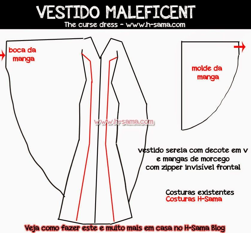 Maleficent Dress Pattern | FIGURINO: Maleficent (2014) - COMO FAZER ...