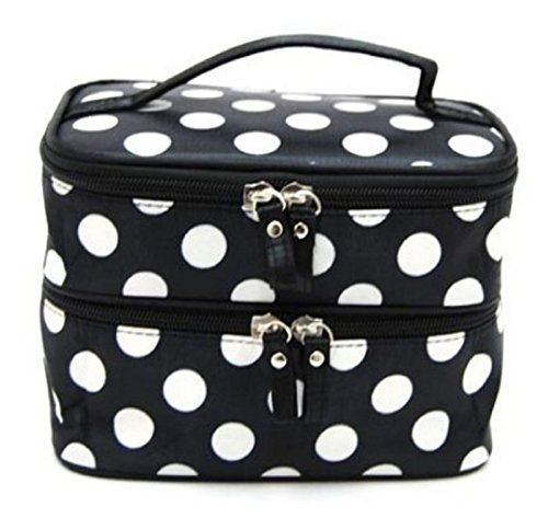 Cosmetic Bags Toraway Women Double Layer PolkDot Travel Hand Makeup Bags Black >>> Learn more by visiting the image link.