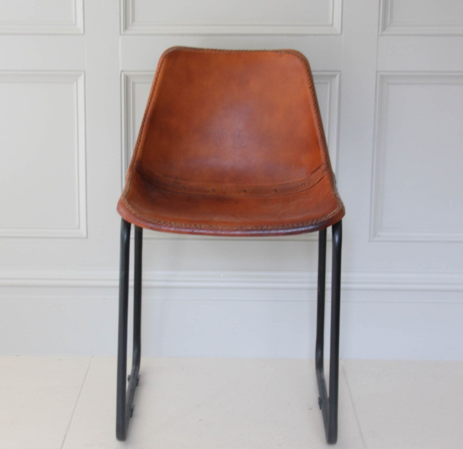 Road House Tan Leather Industrial Dining Restaurant Cafe Etsy Tanned Leather Dining Chairs Saddle Chair Chair