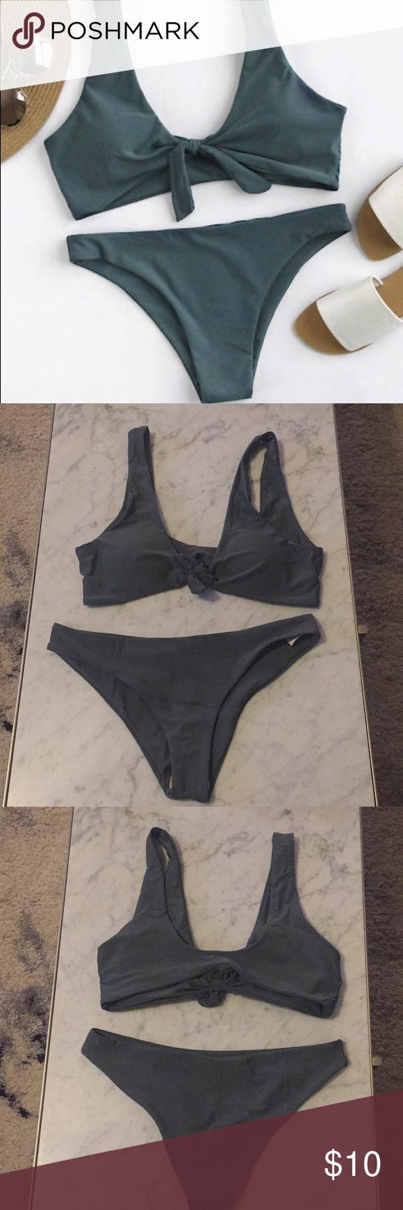 d321eae034 Army Green front knit bathing suit Brand new front knot two piece bikini  SHEIN Swim Bikinis