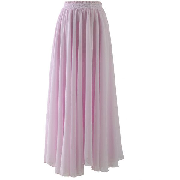 Chicwish Light Pink Long Maxi Skirt ($42) ❤ liked on Polyvore featuring skirts, bottoms, long skirts, maxi skirts, pink, light pink skirt, long ankle length skirts, long purple maxi skirt, long purple skirt ve purple skirt