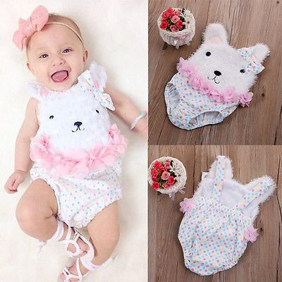 New Newborn Baby Girl Summer One Pieces Clothes Baby Flower Polka Dot Bear Bodysuit Jumpsuit Outfits Costume-in Rompers from Mother & Kids on Aliexpress.com | Alibaba Group