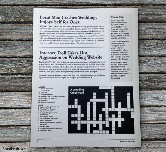 Newspaper Wedding Programs Printed Fun program idea for crafts