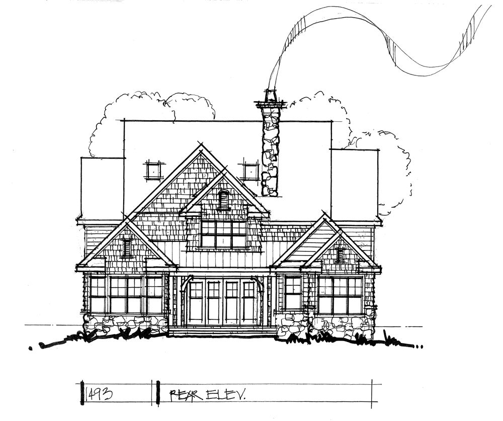 Check out the rear elevation of conceptual house plan 1493. #WeDesignDreams #DonGardnerArchitects