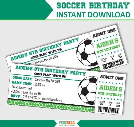 Soccer Party Invitation - Soccer Birthday Invitation - Soccer