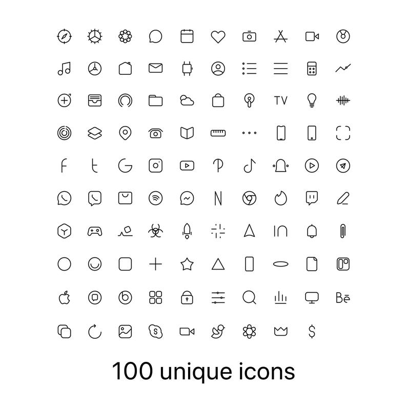 100 Premium App Icons - White Minimal edition - iP