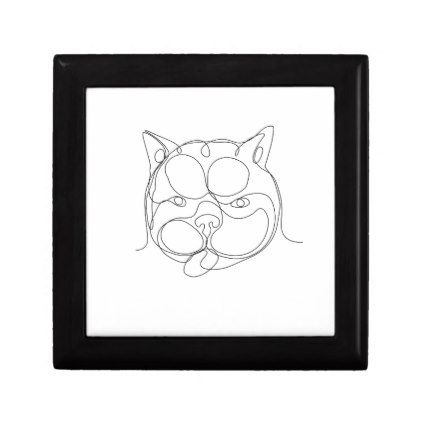 French Bulldog Head Continuous Line Jewelry Box drawing sketch