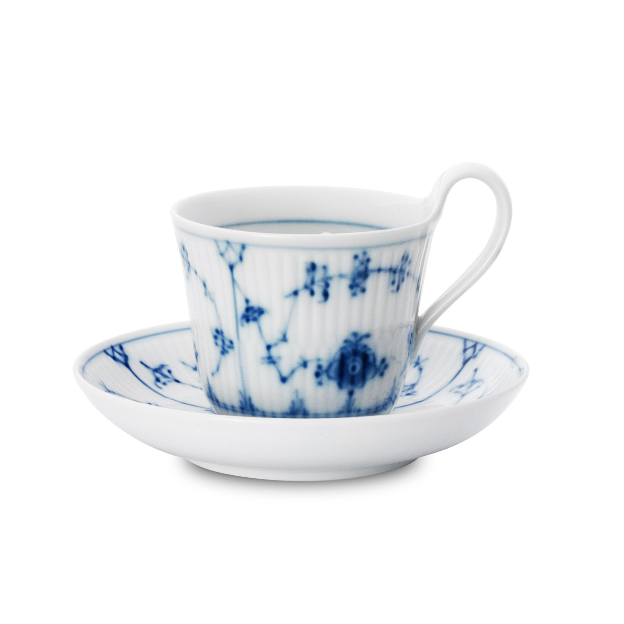 Blue Fluted Plain tea cup and saucer by Royal Copenhagen at Skandium. #royalcopenhagen #blueflutedplain #skandium