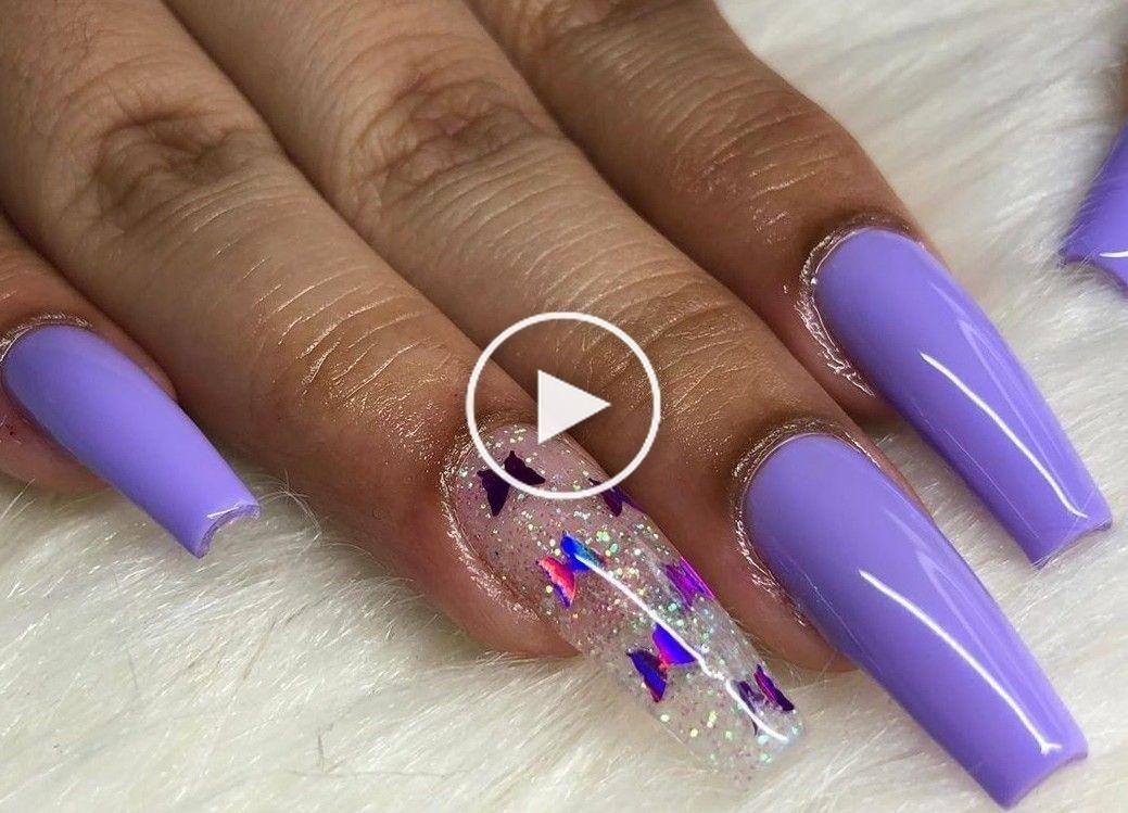 Purple Nails Butterfly Nails Summer Nails Acrylic Nails In 2020 Purple Nails Purple Acrylic Nails Short Acrylic Nails