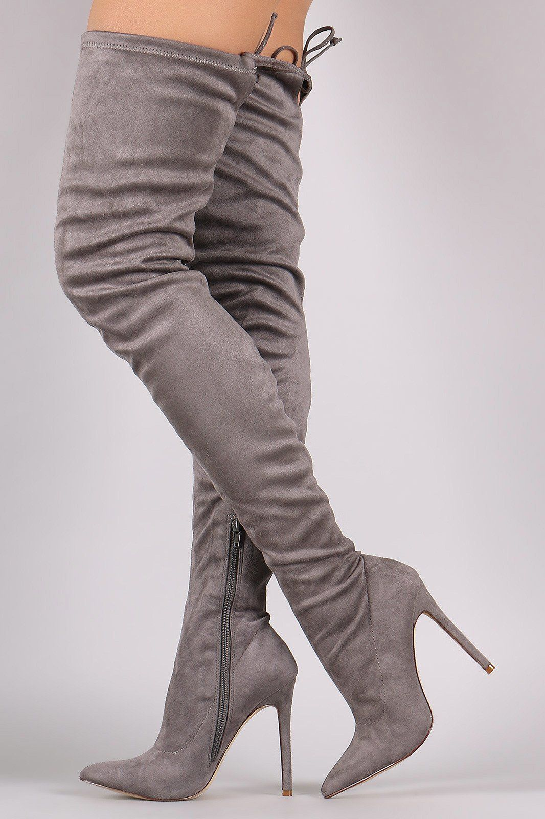 Pointy Toe Drawstring Tie Stiletto Suede Over-The-Knee Boots