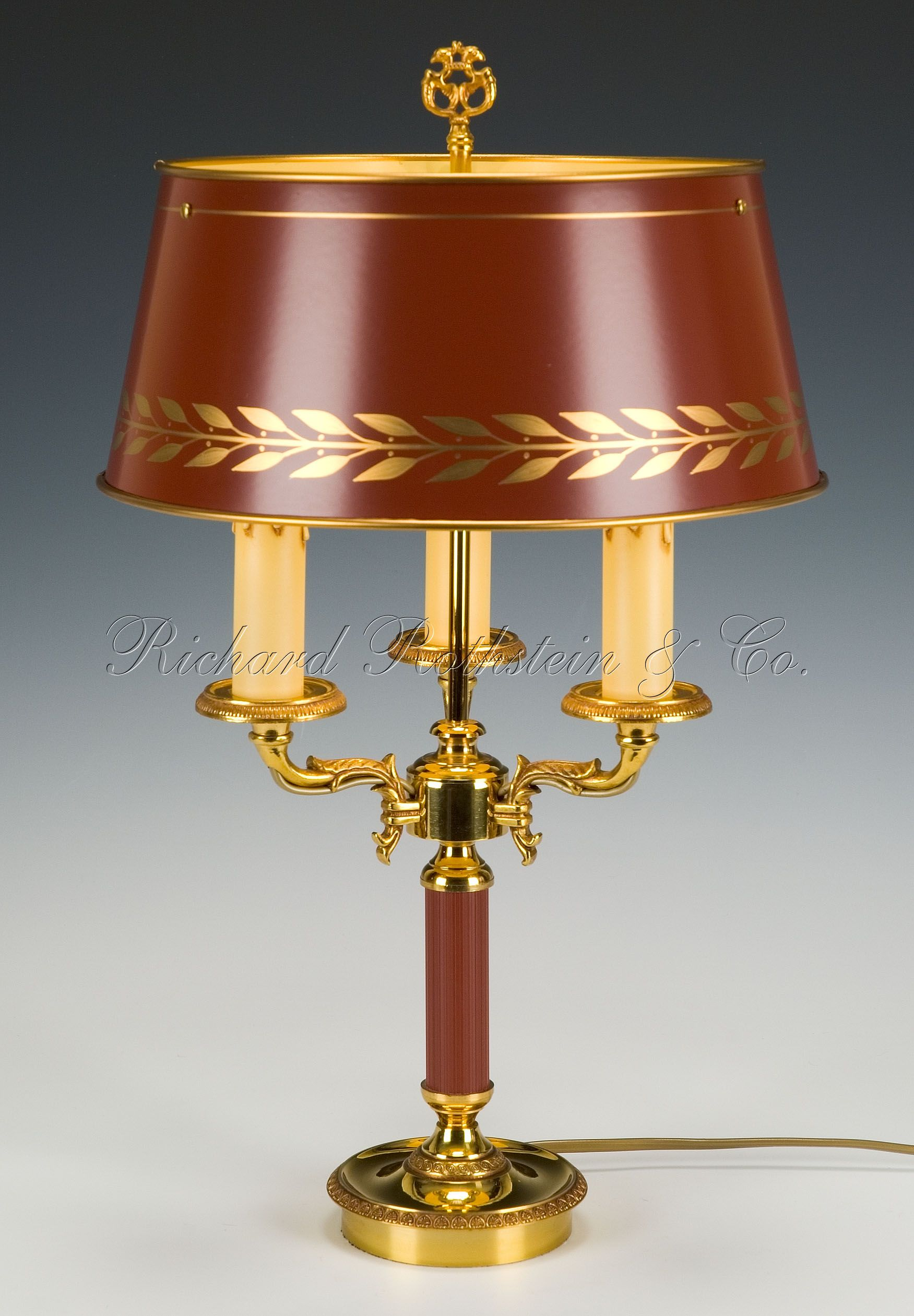 French buffet lamps - Bouillotte Lamp Federal French Empire Tole Candlestick Bouillotte Lamp