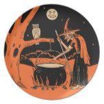 Vintage Halloween-Hexe mit großem Kessel Teller