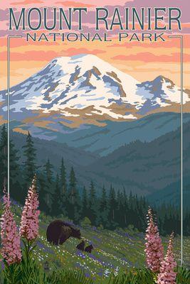Mount Rainier National Park Bear Family Spring Flowers Lantern Press Poster