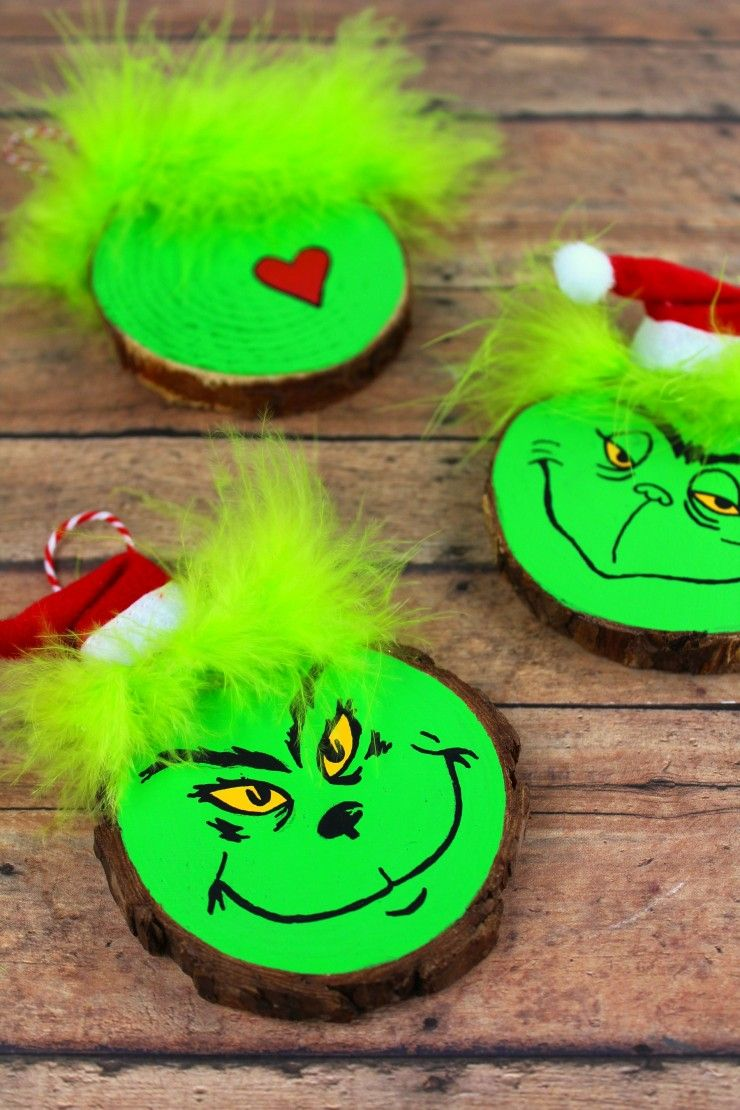 Wood Slice Grinch Ornaments Frugal Mom Eh Grinch Crafts Homemade Christmas Ornaments Diy Grinch Ornaments