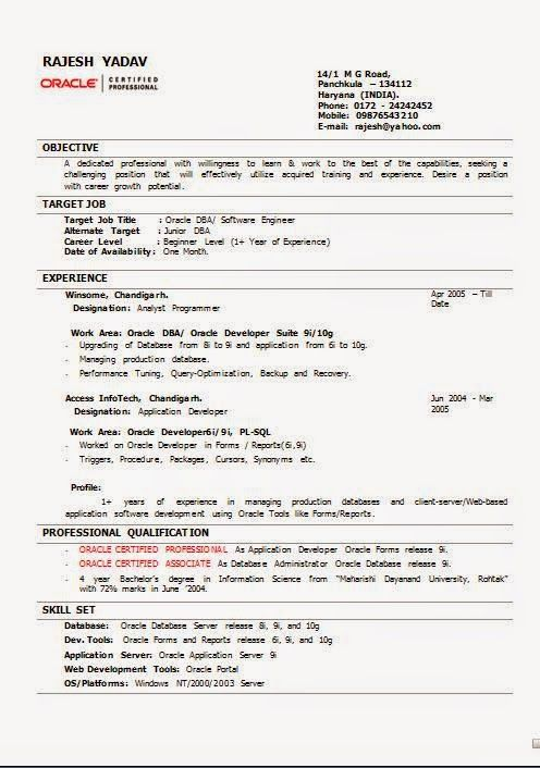 functional resumes Excellent CV \/ Curriculum Vitae with Career - sample oracle dba resume