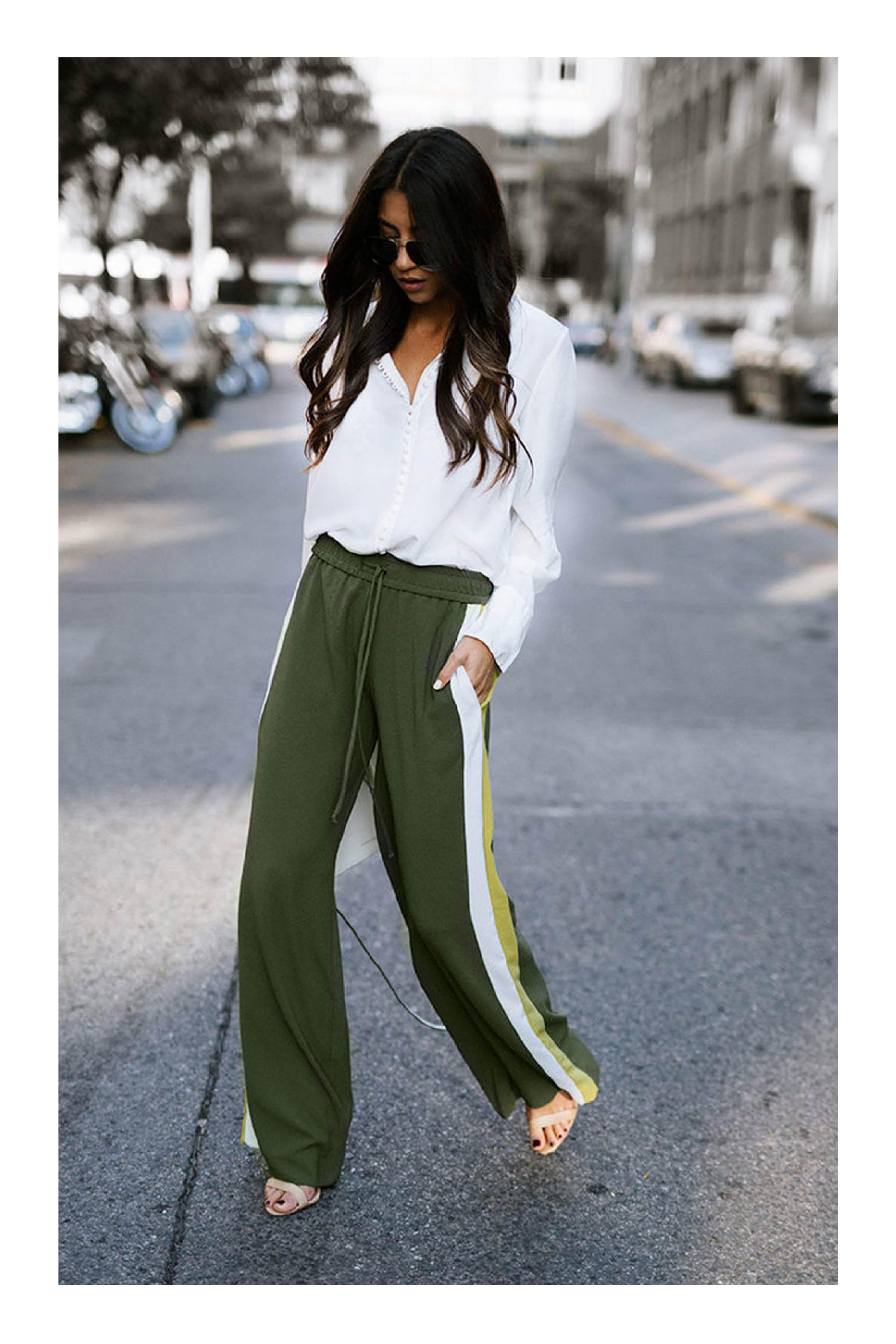 9f12a646da Cómo combinar el color verde militar  TiZKKAmoda  pantalón  verde  blusa   blanca  sandalias  look  fresco  casual