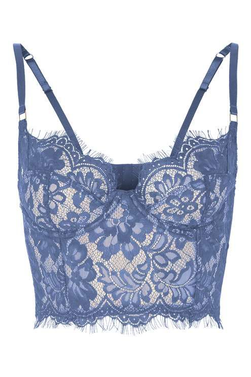 a7f5ba0065088 Go luxe with your intimates in this lace bralet in a sultry blue hue with  non-padded underwired cups for a supported