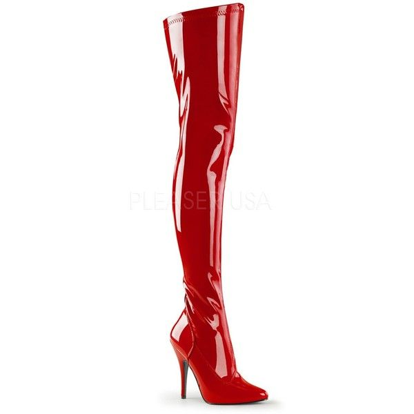 clearance sale store discount red PVC thigh-high boots ❤ liked on Polyvore featuring ...