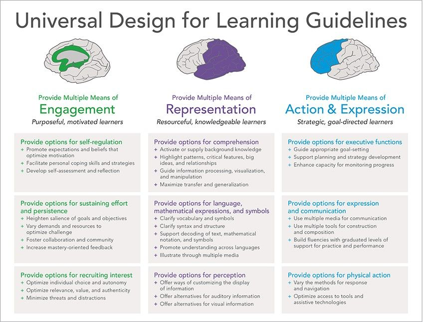 3 Principles Of Universal Design Of Learning Multiple Means Of Representation Action And Expression Engagem Universal Design Learning Design Curriculum Design