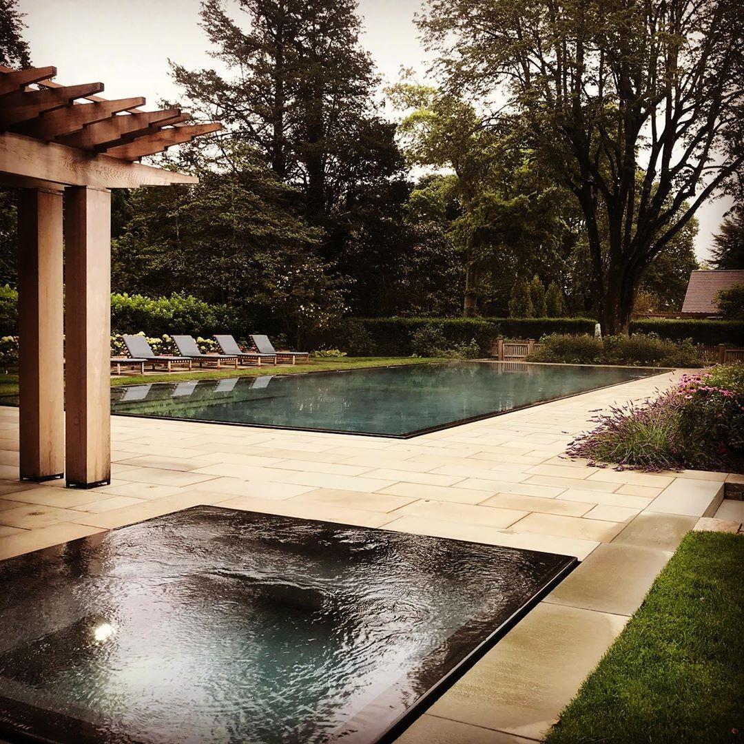 Ed Hollander On Instagram New Rimless Edge Spa And Pool Set In A Bluestone Terrace Creates A Serene Yet Elegant Composition Hollanderde Pool Terrace Swim Spa