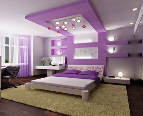 Purple Bedroom Ideas Love This And I Could Make That Wall Ceiling Treatment Not Hard In Fact For A Kid Use Less Expensive Than Wood Lighter Too