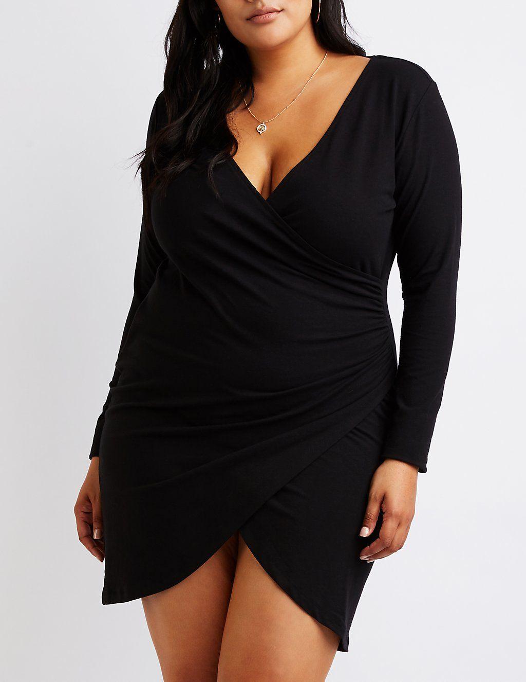 78e8dc31ceac1 Plus Size Wrap Bodycon Dress