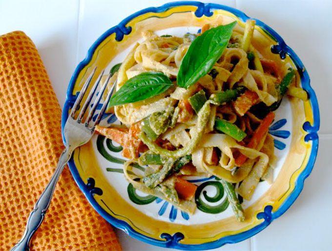 Healthy, Vegan, Peanut-free Tahini Vegetable Noodle Stir Fry. So delicious; so good!