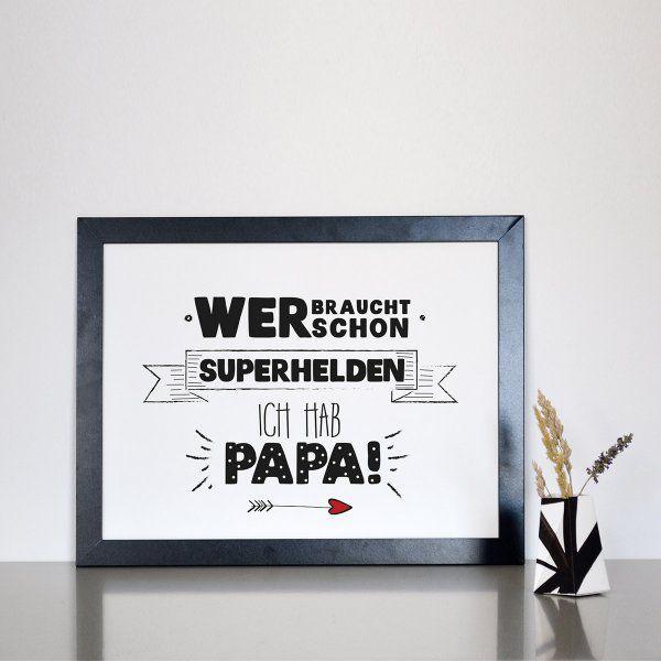 statement poster superhelden papa din a4 vatertag pinterest geschenke geschenk papa und mama. Black Bedroom Furniture Sets. Home Design Ideas