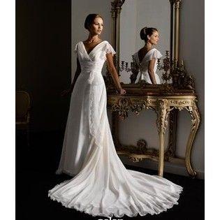 Beach Wedding Dresses Cap Sleeve Chiffon Wedding Dress With