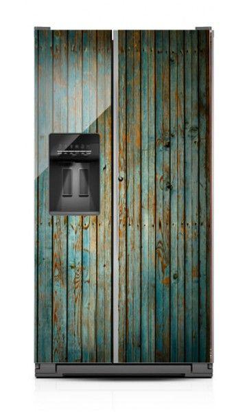 Flaking Wood Sbs Fridge Makeover Refrigerator Covers Primitive Kitchen