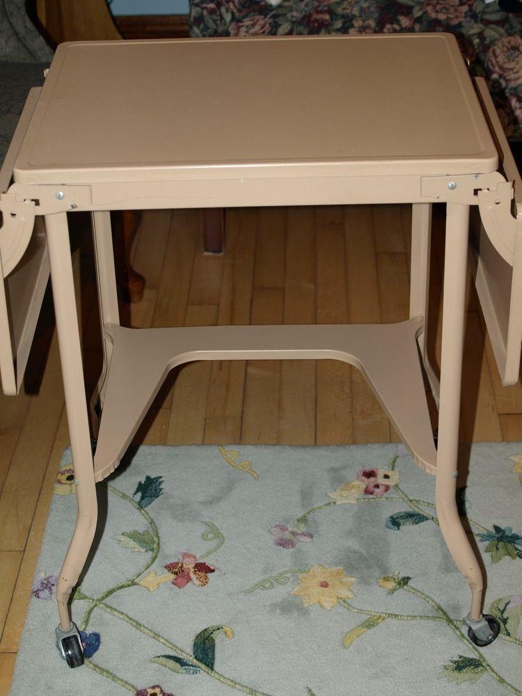 Vintage Metal Typewriter Table Fold Down Sides Wheels 2332