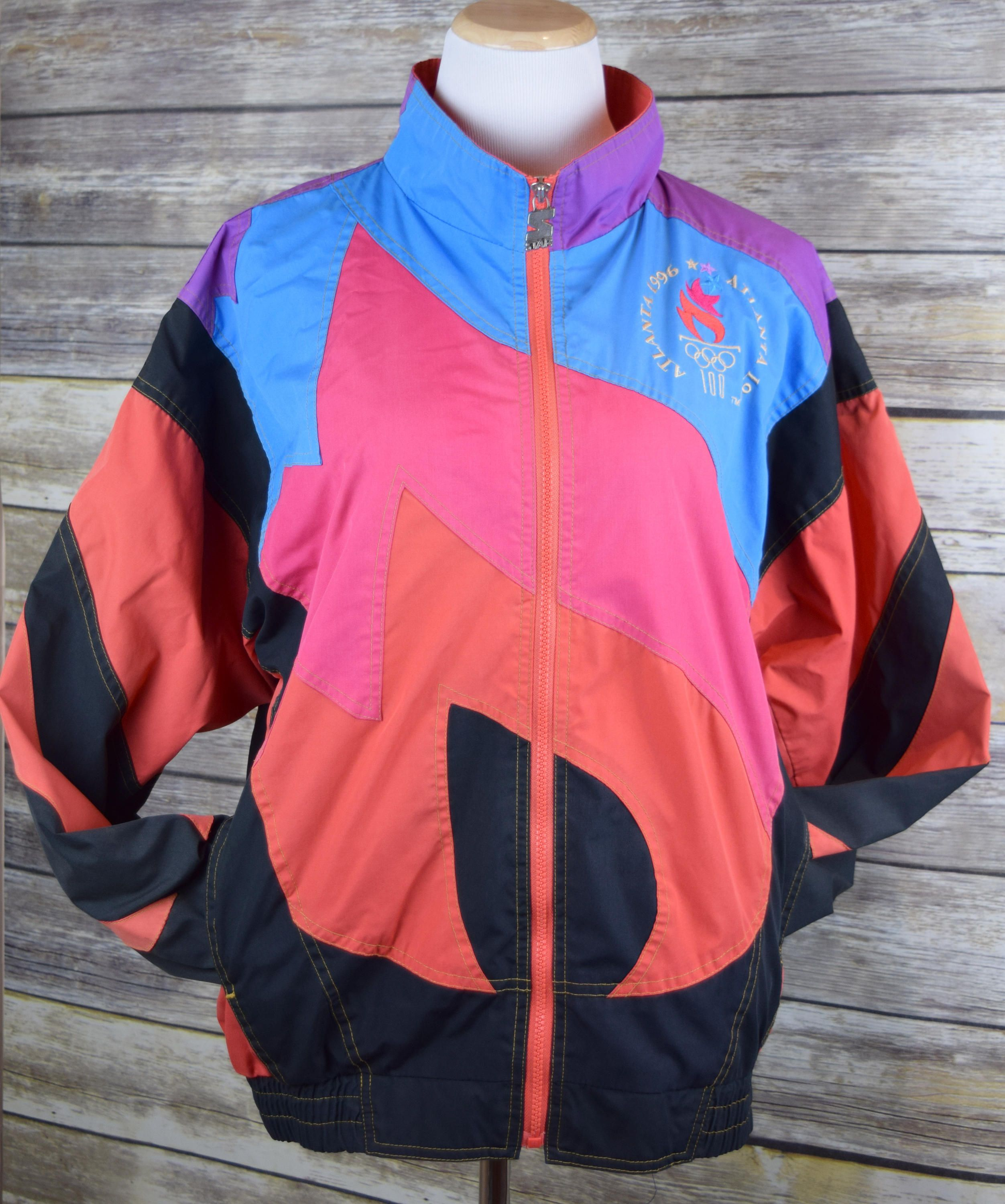 6f48a9c9c79a RARE Men s L Starter Atlanta 1996 Olympics Color Block Flame Windbreaker  Jacket by GVvintageswoon on Etsy