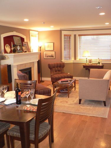 Sitting Room And Dining Room Designs: Living Room Loveseat Chair Fireplace Arrangement Is