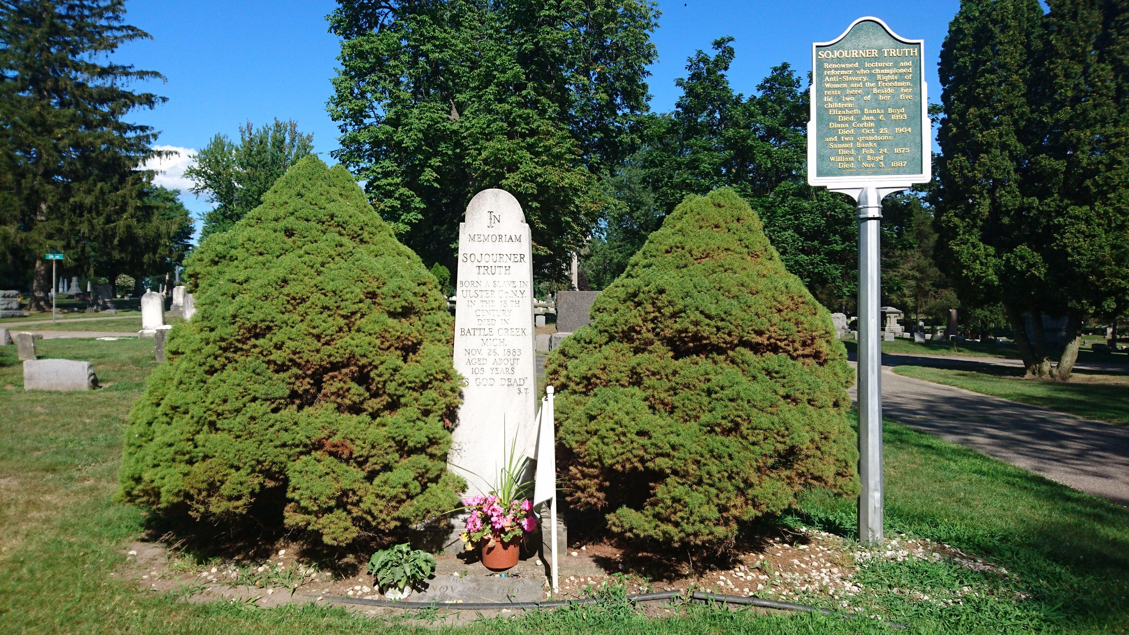 Grave Of Sojourner Truth In Oak Hill Cemetery Battle