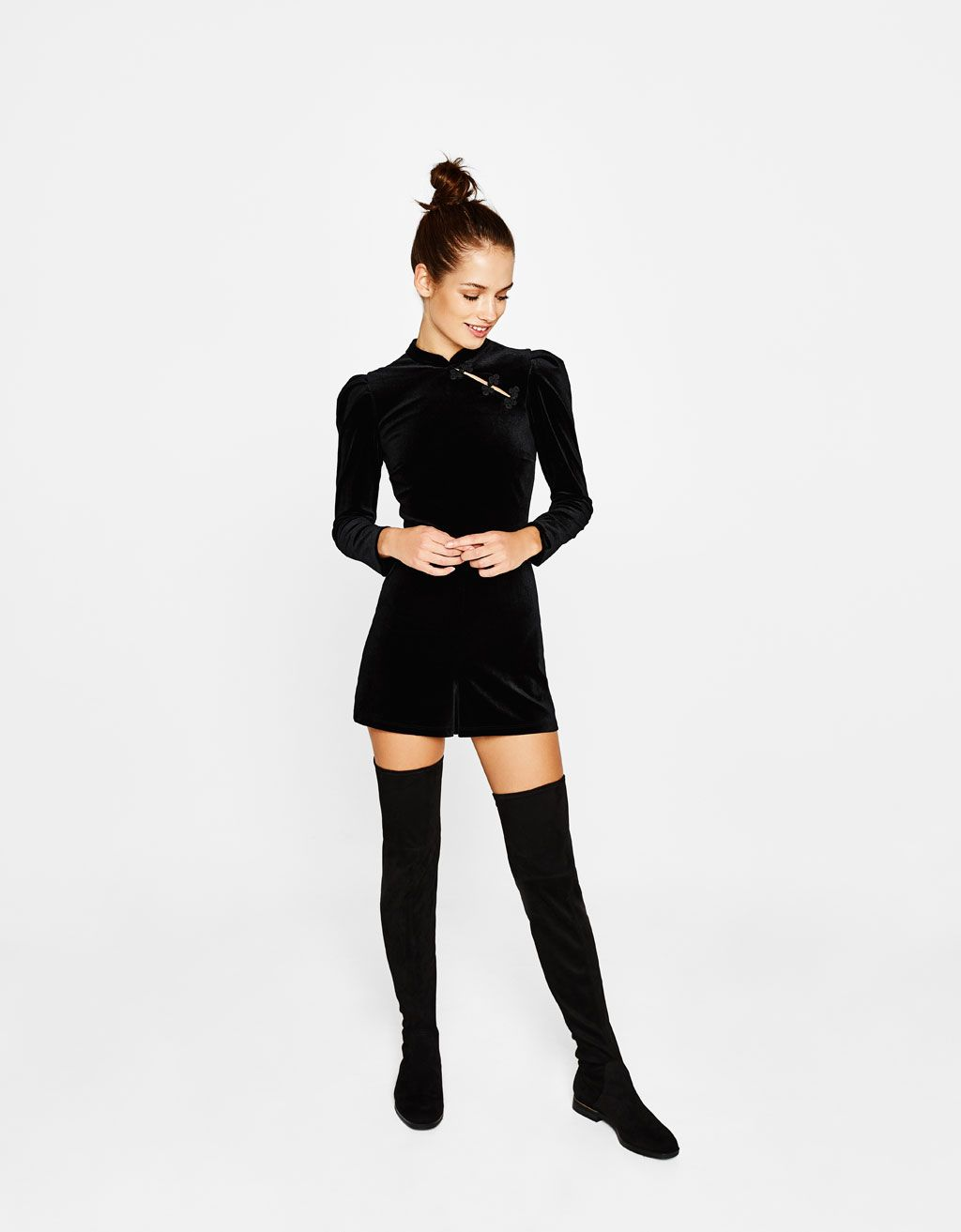 4f39618af4 Long sleeve velvet romper. Discover this and many more items in Bershka  with new products every week