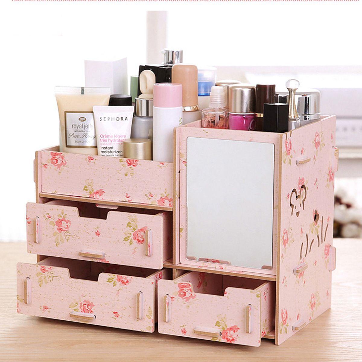 Eachine1 Desktop Storage Case Wooden Cosmetic Drawer Makeup Organizer Makeup Storage Box Container For Home Office Makeup Storage Box Makeup Storage Wood Makeup Organizer