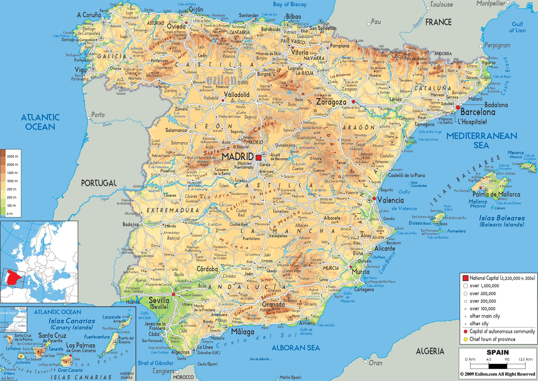 administrative physical and relief map of spain. image from httpwwweziloncommapsimageseuropespainphysical