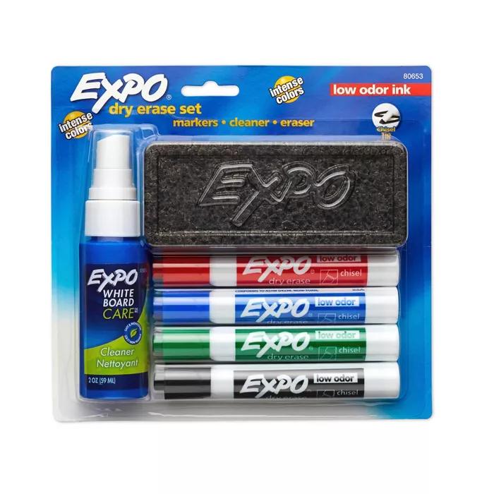 6pk Dry Erase Marker Starter Set With Eraser Cleaner Chisel Tip Multicolor Expo Dry Erase Markers Dry Erase Eraser