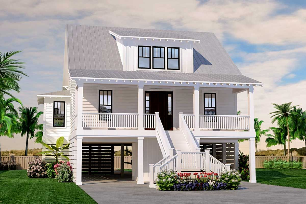 Plan 15252nc Stunning Coastal House Plan With Front And Back Porches Beach House Floor Plans Stilt House Plans Southern House Plans