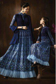 50ad932ef8 Mother And Daughter Georgette Party Wear Gown In Teal Blue Colour Long  Anarkali, Anarkali Suits