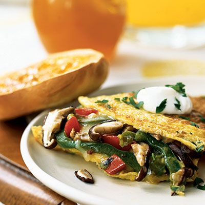 Mushroom and Bell Pepper Omelet with Fontina - Healthy Breakfast Recipes - Cooking Light