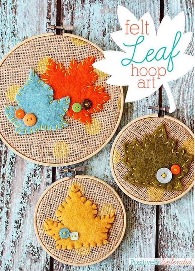 Leaf Embroidery Hoop Art DIY Burlap
